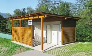 Bungalow sanitaire avec auvent en bois