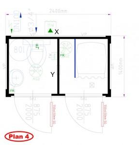Plan 4 - 1 Wc 1 Douche 2 portes